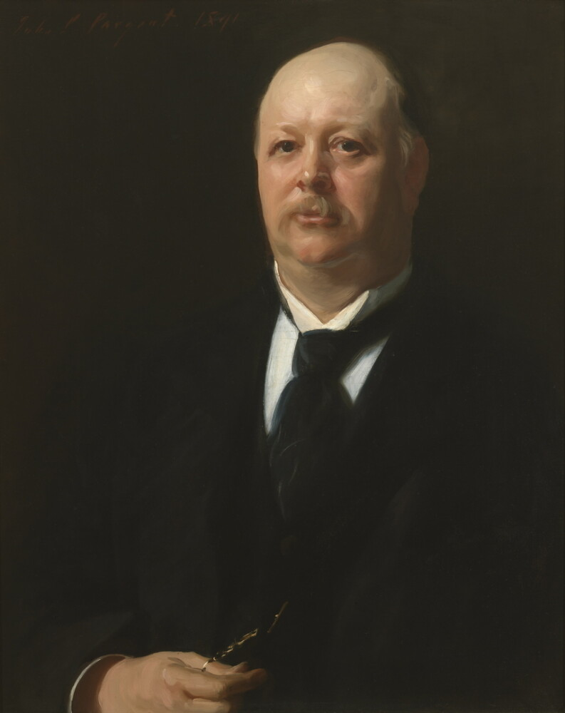 "Thomas Brackett Reed painted by John Singer Sargent in 1891. Of his portrait, Reed said ""[W]hen those pictures . . . are dug from the ruins of the Capitol 2000 years hence . . . they will pass by the portraits [of other Speakers] . . . but when they come to Sargent's work and see the features of your humble servant . . . [they will] say 'here is quite a fellow.'"""