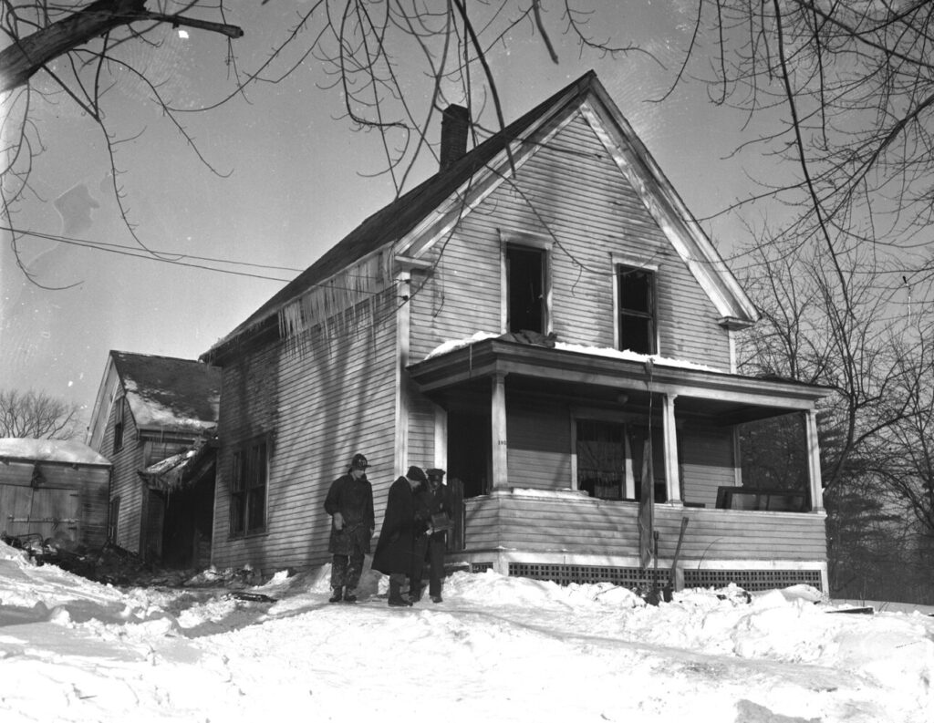 The site of a deadly fire in Auburn that killed 16 babies and one nurse. Jan. 31, 1945