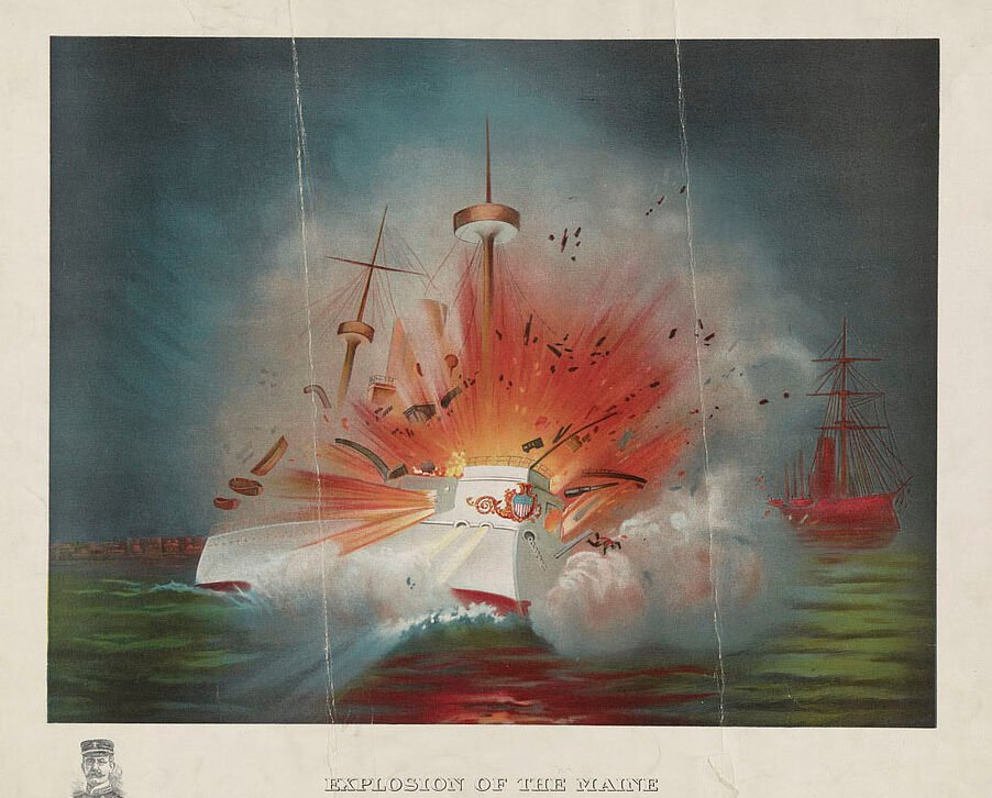 Print of the U.S.S. Maine blowing up in the harbor at Havana, Cuba; a small portrait of Capt. C.D. Sigsbee decorates the lower left margin. Print published June 21, 1898.