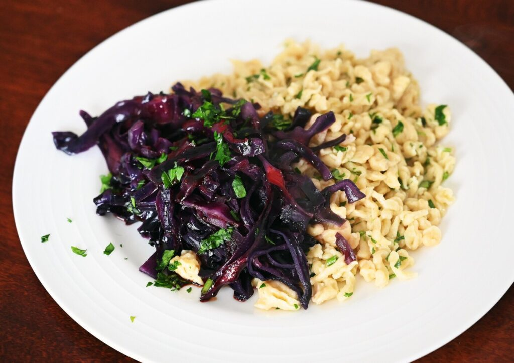Braised Red Cabbage with Mustard Spaetzle