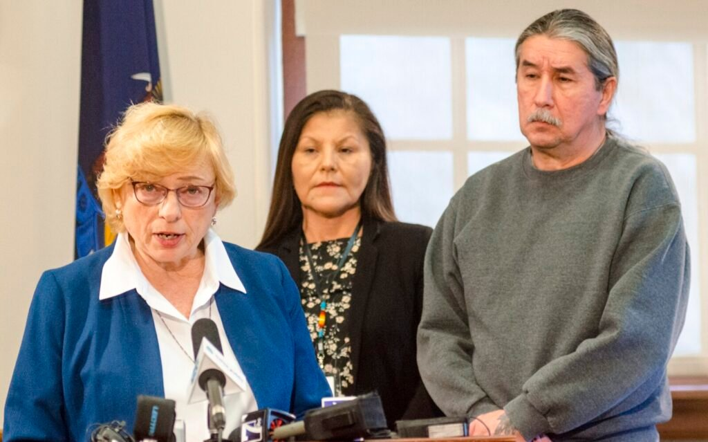 Gov. Janet Mills announces a posthumous pardon of attorney Donald Gellers, who worked with the Passamaquoddy tribe, on Tuesday at the State House. With her are Passamaquoddy Tribal Rep. Rena Newell and Vice Chief Darrell J. Newell of the Passamaquoddy tribe at Indian Township.