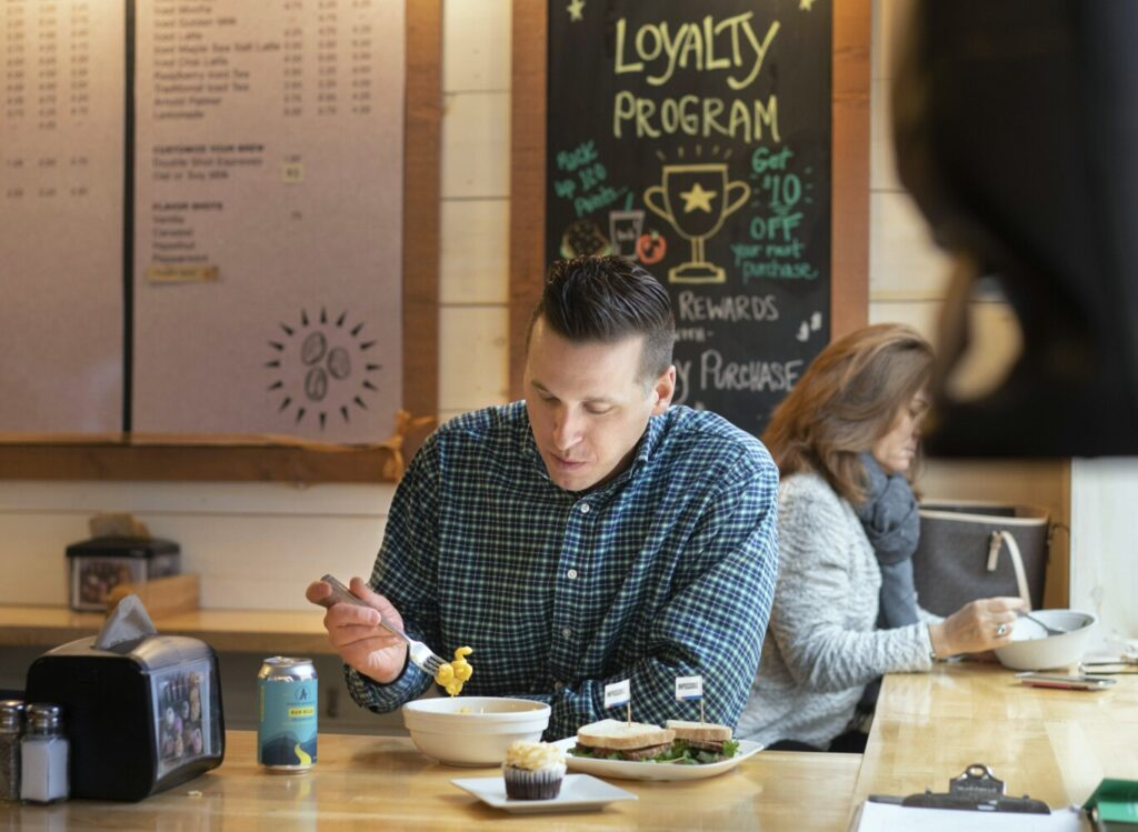 Portlander Matt Place, who is attempting both a Dry January and Veganuary, eats lunch at Baristas + Bites in Portland this month. He ordered a plant-based meatloaf sandwich; vegan mac and cheese; a vegan, gluten-free cupcake; and a non-alcoholic IPA beer made by Athletic Brewing Co., his employer.