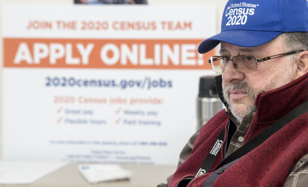 Ron Witham, a field supervisor for the 2020 Census, hangs out at the Norridgewock Public Library on Saturday as he waits for potential Census workers.