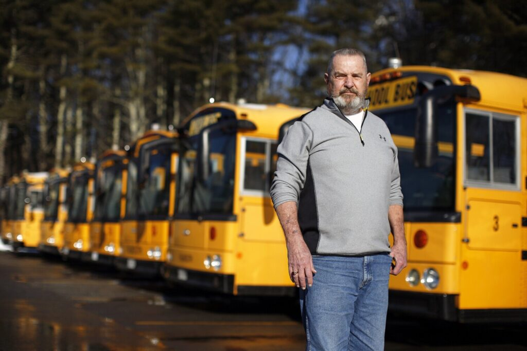 "Topper West,  transportation director for Falmouth schools, has expressed interest in e-buses to augment his 25-vehicle diesel fleet. Although he has some concerns about electric buses, he said, ""This seems like it may be the next thing to come down the pike."""