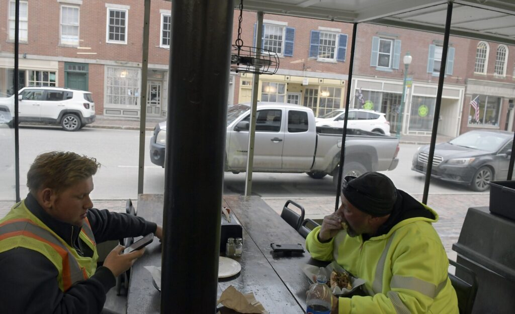 Parking spots in downtown Gardiner at lunchtime Monday.