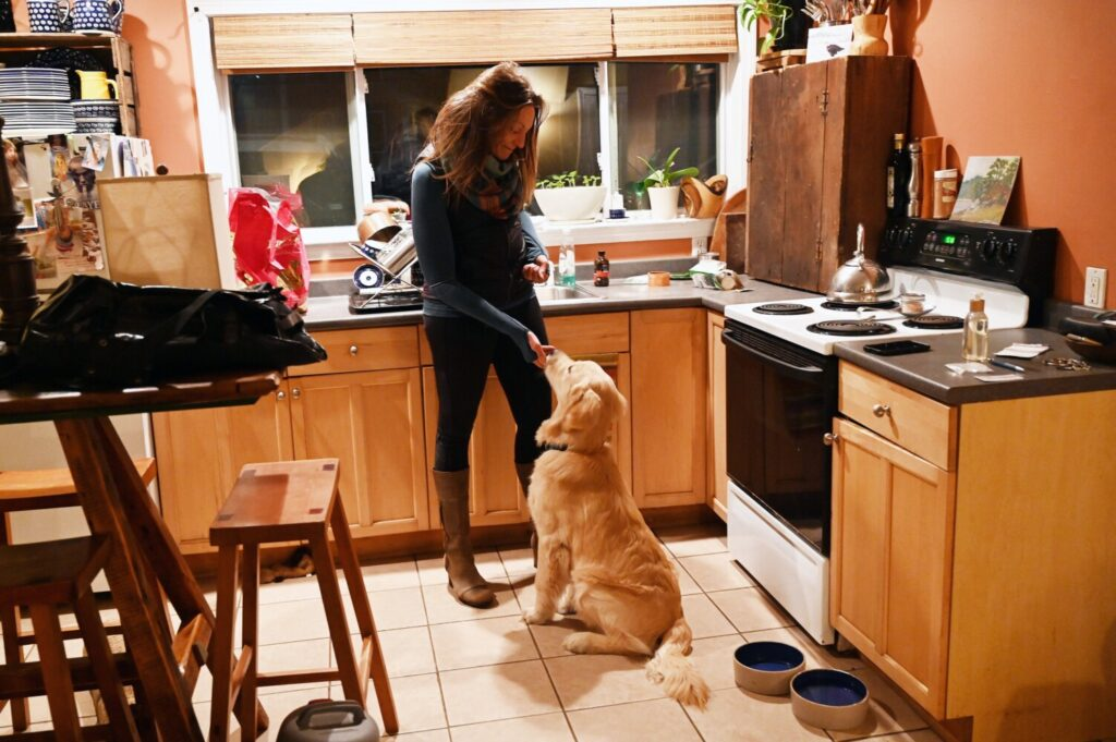 Willa Wirth gives  Tommy a treat at their home in Portland on Tuesday.