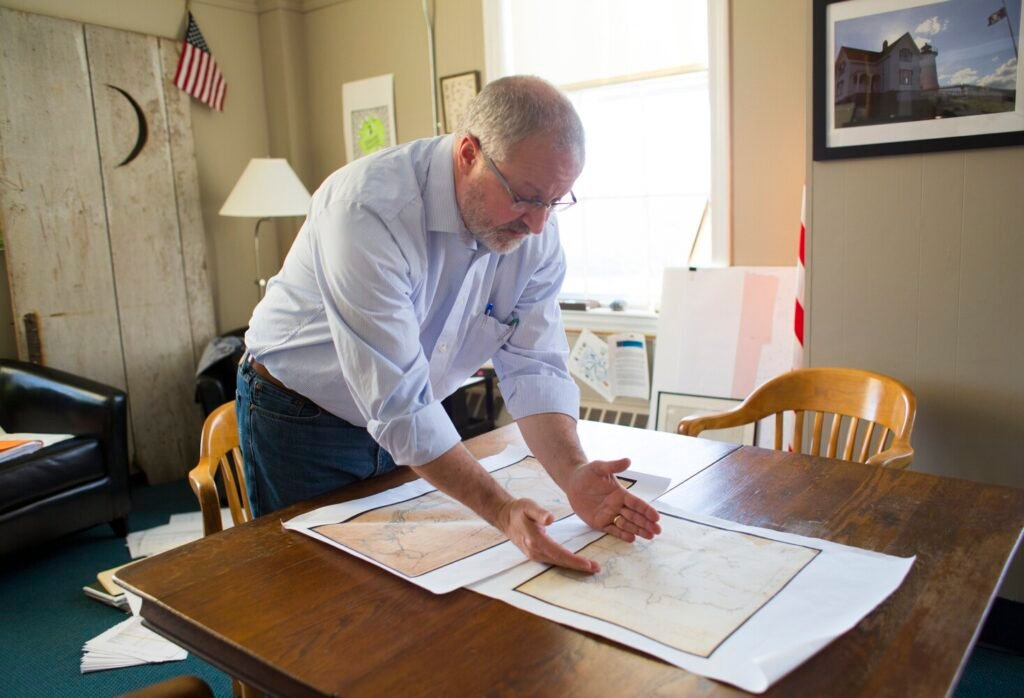 York's Town Manager Stephen Burns shows the location of a disputed border with the town of Kittery.