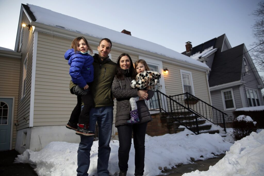 "The Adour family of South Portland, from left, Eva, Jason, Emily and Pearl, has been struggling to find a home in Cape Elizabeth, with a red-hot market and low housing stock. ""There's just a lack of inventory in our price range,' Emily said."