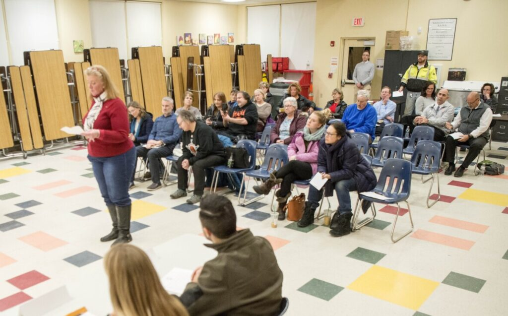 Margaret O'Connell speaks in favor of the move to bring gender-neutral bathrooms to the school district Thursday during a School Administrative District 54 board meeting at the Skowhegan Middle School.