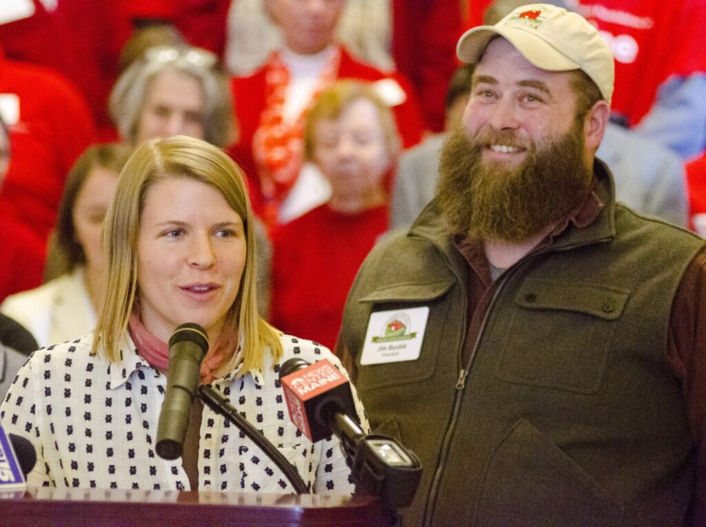 Hannah Hamilton and her husband, Jim Buckle, owners of The Buckle Farm in Unity, speak at a news conference Tuesday about a bill to provide funding for broadband internet Infrastructure in rural parts of Maine. Jim Buckle said modern day agriculture depends on a high-speed connection to the internet.