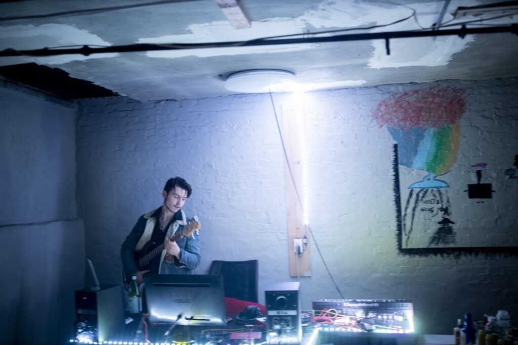 Satchel Butterfield, 17, plays in his basement home studio.  He released a new album, ÒDevolveÓ, on Friday.