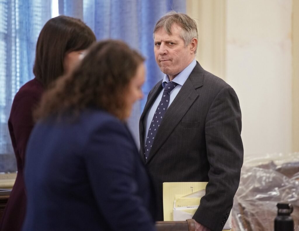 Bruce Akers enters the courtroom Friday before the jury received instructions from Justice Wayne Douglas in York County Superior Court. Jurors found Akers guilty of murder.