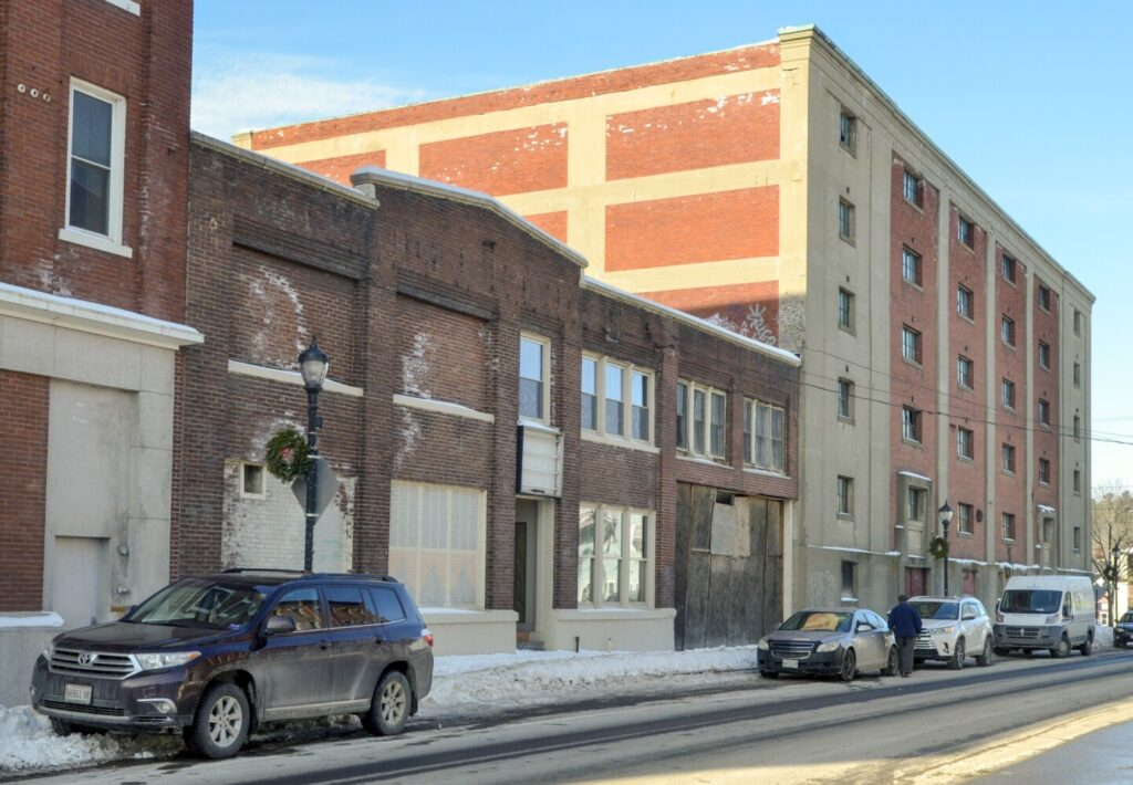 This photo, taken Jan. 21, shows buildings near corner of Water and Laurel streets that is one of the proposed sites for a new Augusta Police station.