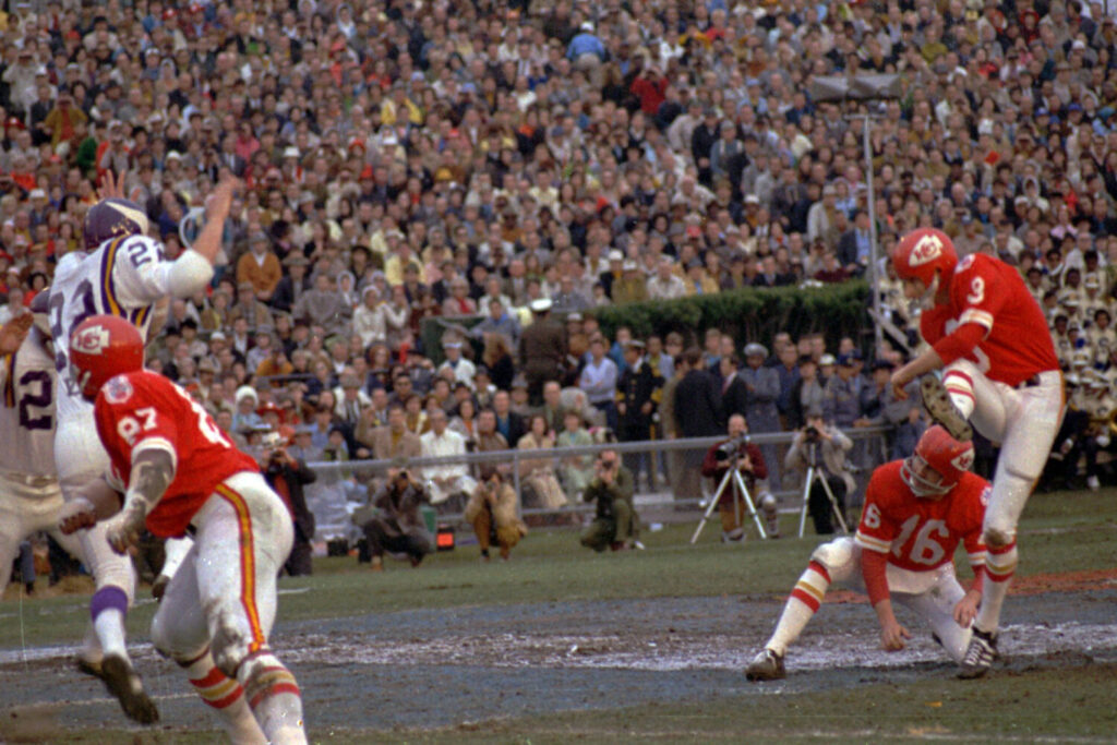 Jan Stenerud kicked three field goals and two extra points the last time the Kansas City Chiefs played in the Super Bowl, on Jan. 11, 1970. Stenerud has fond memories of the Chiefs' 23-7 win over the Minnesota Vikings and is happy the team is finally back in the big game.