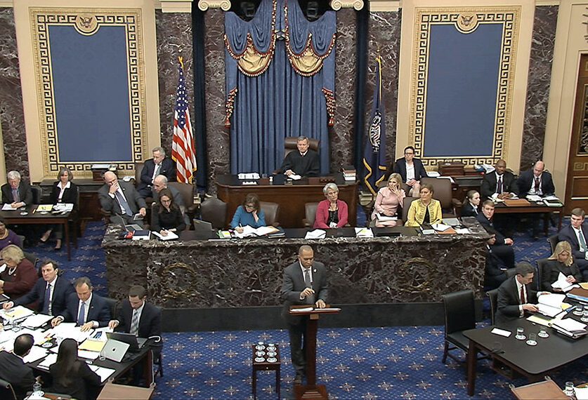 House impeachment manager Rep. Hakeem Jeffries, D-N.Y., speaks Friday during the impeachment trial of President Trump. The Democrats concluded their case for removing the president. The defense will begin Saturday.