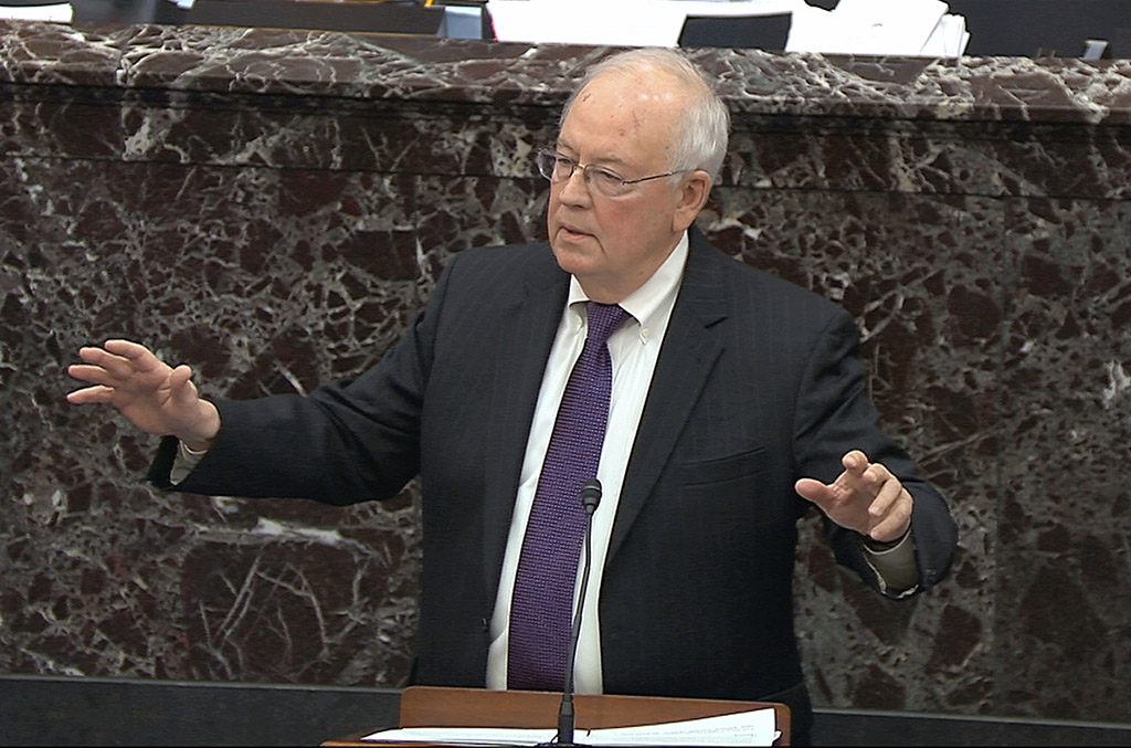 In this image from video, Ken Starr, an attorney for President Trump, speaks Monday during the impeachment trial in the Senate.