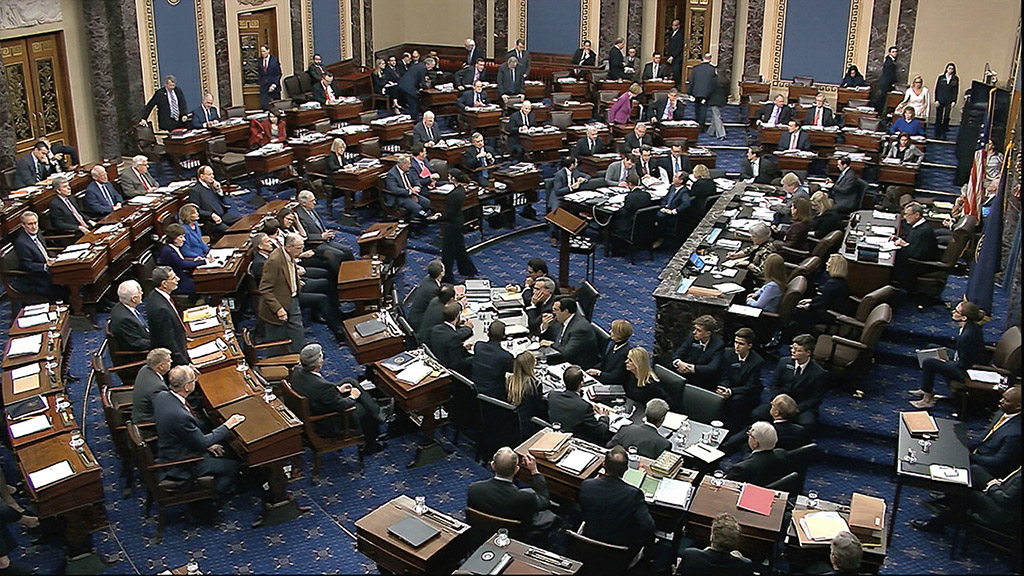 Senators cast their votes Friday on the motion to allow witnesses and evidence to be introduced in the impeachment trial of President Trump. The motion failedon a vote of 51-49.