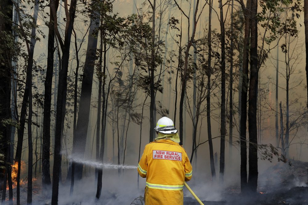 A firefighter manages a controlled burn near Tomerong, Australia, Wednesday, Jan. 8, 2020, in an effort to contain a larger fire nearby.