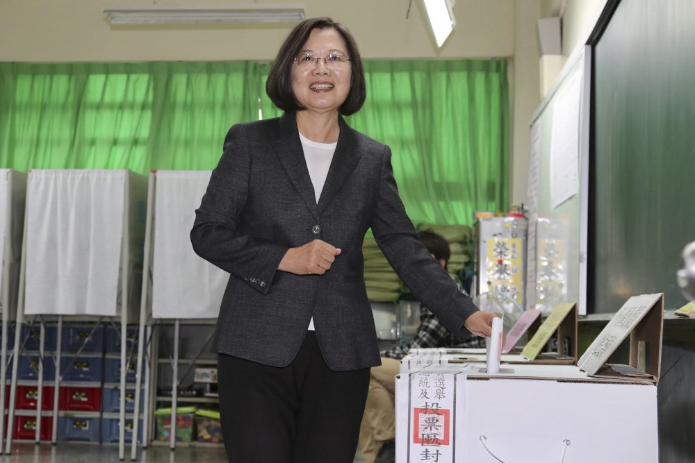 Taiwanese President and presidential election candidate Tsai Ing-wen casts her ballot at a polling station in New Taipei City, Taiwan, on Saturday. Tsai won a second term with a record 7.7 million votes.