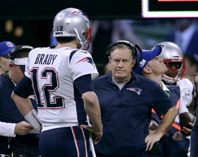 Associated Press/ Carolyn Kaster QB Tom Brady, left, and Coach Bill Belichick went a decade between Super Bowl victories and the direction of the franchise may have changed if not for a rally from 10 points down in Super Bowl XLIX.
