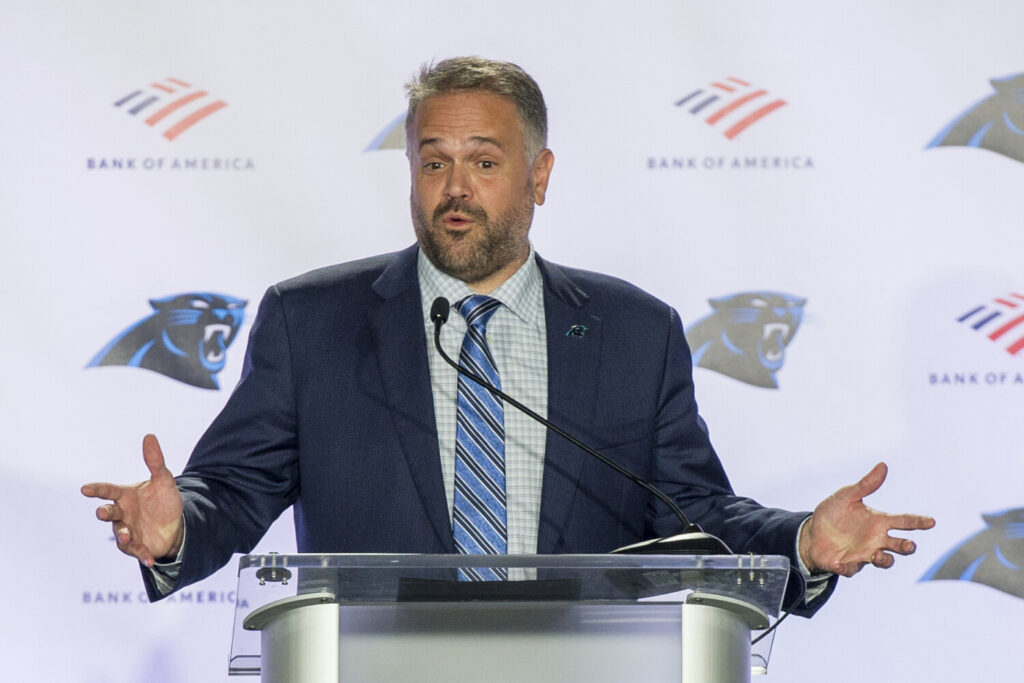 Matt Rhule talks to the media after being introduced as the new coach of the Carolina Panthers on Wednesday, in Charlotte, N.C.