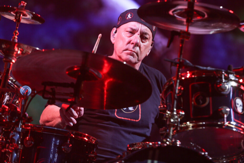 Neil Peart of Rush performs during the final show of the R40 Tour in 2015 in Los Angeles.