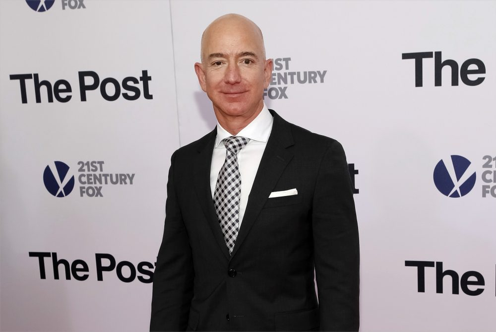 "In this Dec. 14, 2017, file photo, Jeff Bezos attends the premiere of ""The Post"" at The Newseum in Washington. United Nations experts on Wednesday, Jan. 22, 2020 have called for ""immediate investigation"" by the United States into information they received that suggests that Jeff Bezos' phone was hacked after receiving a file sent from Saudi Crown Prince Mohammed bin Salman's WhatsApp account."