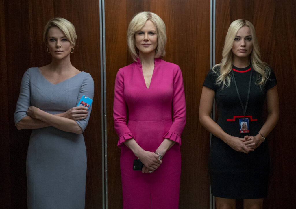 "Megyn Kelly (Charlize Theron, left), Gretchen Carlson (Nicole Kidman, center), and Kayla Pospisil (Margot Robbie, right) in ""Bombshell."""