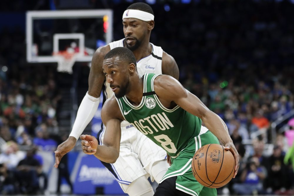 Celtics guard Kemba Walker sat out Saturday night against the Philadelphia 76ers and is also expected to sit Monday against Atlanta because of knee soreness.