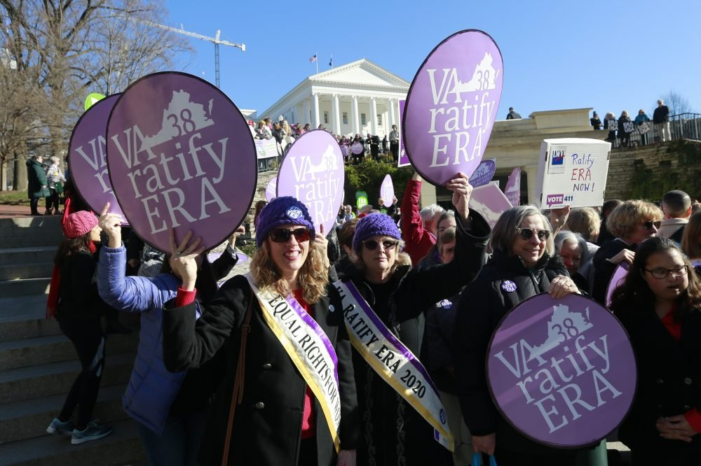 Equal Rights Amendment supporters demonstrate outside Virginia State Capitol in Richmond, Va. Wednesday, Jan. 8.