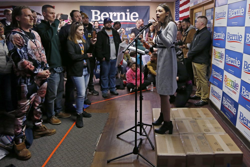 Rep. Alexandria Ocasio-Cortez, D-N.Y., speaks as a surrogate of Democratic presidential candidate Bernie Sanders on Saturday in Cedar Rapids, Iowa.