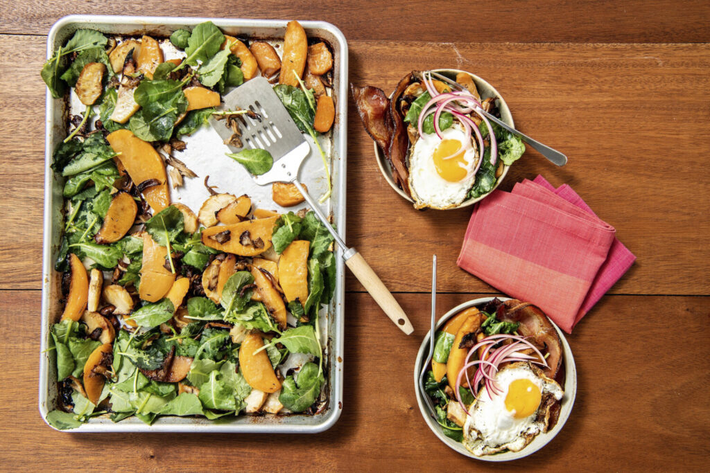 Indulge: Hearty rutabaga and mushroom hash, basted in bacon fat and served with fried eggs.