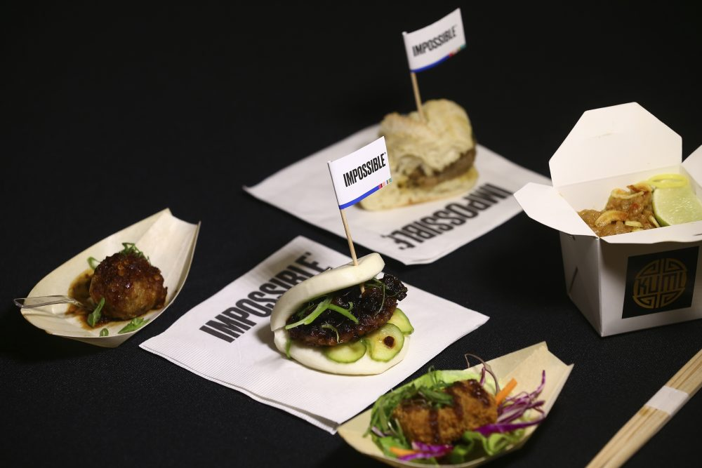 A variety of Impossible Pork dishes from Impossible Foods, the California plant-based meat company. Burger King will give consumers their first taste of Impossible Sausage with its Impossible Croissan'wich, made with the plant-based sausage, but won't be for vegans as it's coupled with the traditional egg and cheese.