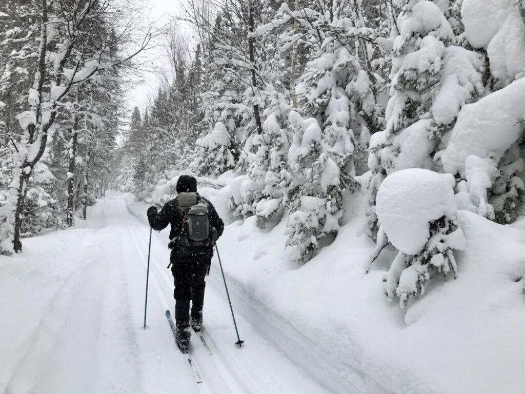 AMCer Peter Roderick skis the long, popular trail into Lac aux Amercains in Gaspe National Park in Quebec. The snow conditions were fabulous.