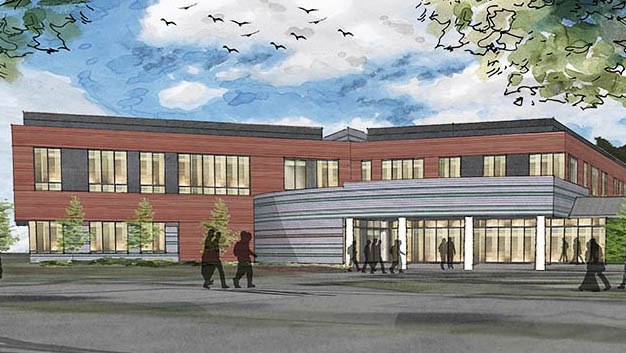 An artist's rendering shows a design for the future business college building at Husson University in Bangor.