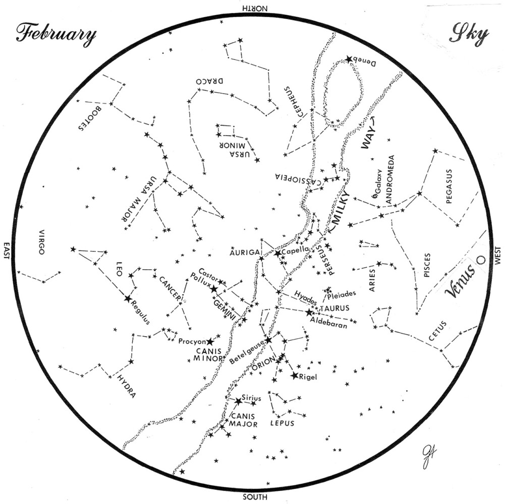 SKY GUIDE: This chart represents the sky as it appears over Maine during February.  The stars are shown as they appear at 9:30 p.m. early in the month, at 8:30 p.m. at midmonth and at 7:30 p.m. at month's end.  Venus is shown in its midmonth position.  To use the map, hold it vertically and turn it so that the direction you are facing us at the bottom.