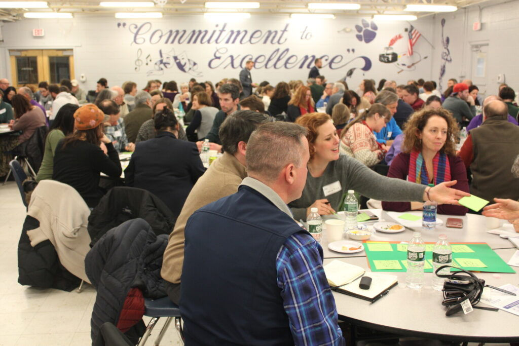Community members discuss strengths, weaknesses and innovative ideas for educational opportunities in Waterville at the first public meeting of SPaRC in the Waterville Senior High School cafeteria Tuesday evening. SPaRC is a coalition of the area's schools, from daycare to adult education programs.