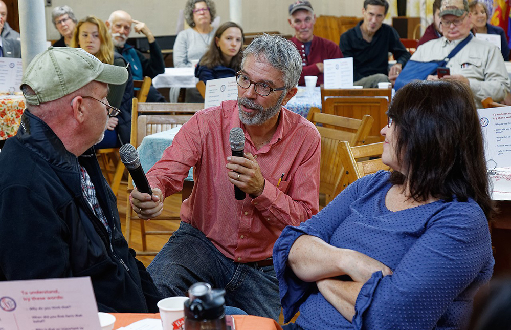 Craig Freshley moderates a Make Shift Coffee House discussion in Richmond in November 2019.