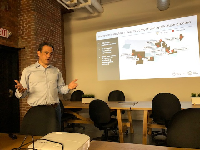 Founder and Executive Director of the Center on Rural Innovation Matt Dunne speaks Wednesday in Waterville.