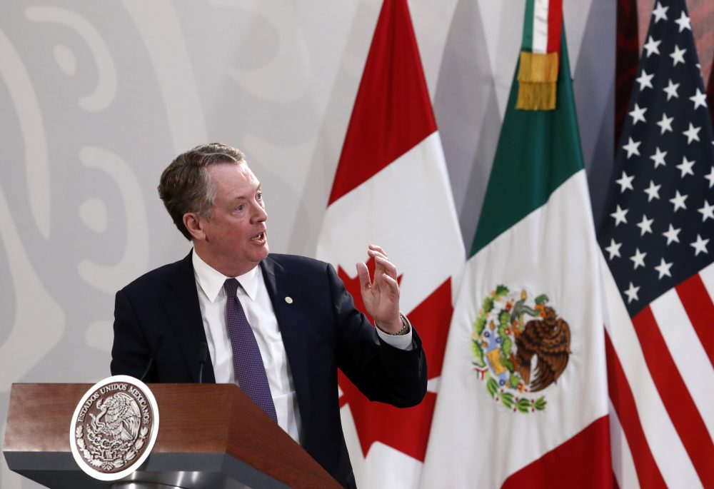 U.S. Trade Representative Robert Lighthizer speaks during an event to sign an update to the North American trade agreement at the national palace in Mexico City in December. The U.S. Senate overwhelmingly approved the pact on Thursday.