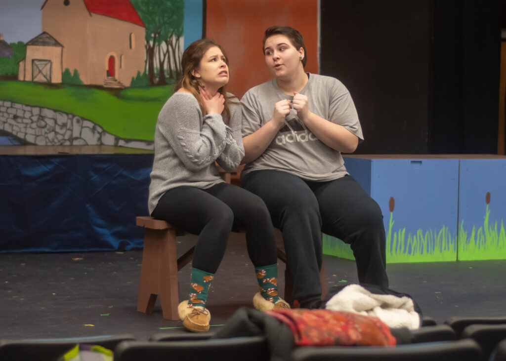 "Grace Woodard, left, as ""Ugly"" and Arianna Johnson as ""Ida"" during a rehearsal for Oak Hill High School Drama Club's production ""HONK!"""