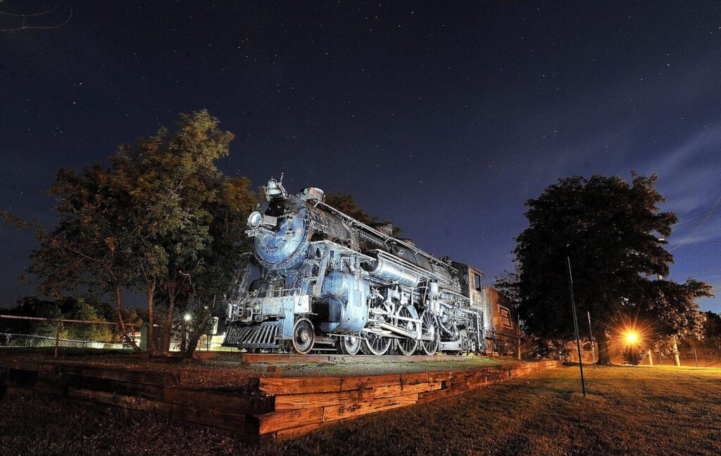 The Old 470 steam locomotive that sat for years in Waterville, seen in August 2012, is being restored by a group of volunteers. It sat in Waterville rusting until 2016 when it was purchased by New England Steam Corp. and moved to Hancock, where a team is painstakingly chipping off rust and restoring the machine.