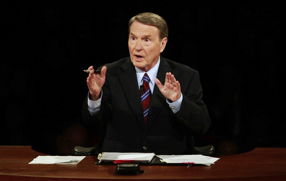 Debate moderator Jim Lehrer during the first U.S. presidential debate between presidential nominees Sen. John McCain, R-Ariz., and Sen. Barack Obama, D-Ill., on  Sept. 26, 2008, at the University of Mississippi in Oxford, Miss.