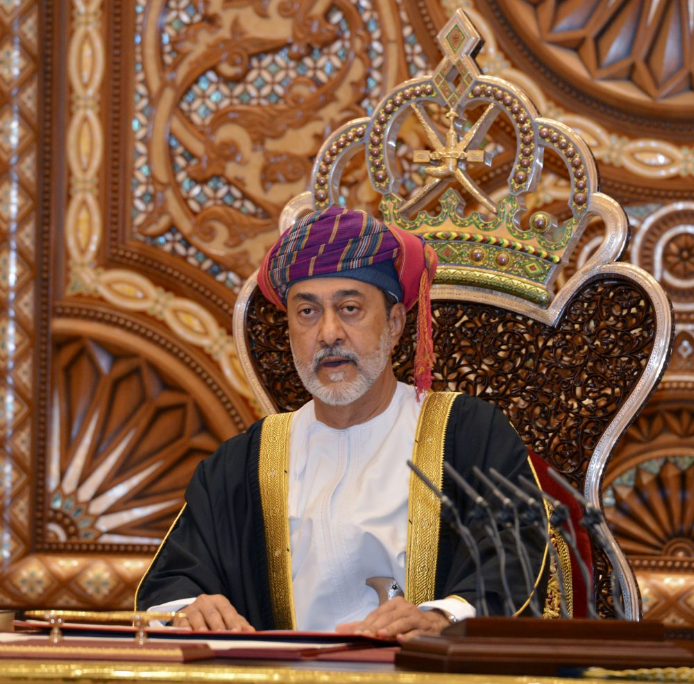 Oman's new sultan Haitham bin Tariq Al Said makes his first speech after swearing in at the Royal Family Council in Muscat, Oman, on Saturday. Sultan Qaboos bin Said, the Mideast's longest-ruling monarch who seized power in a 1970 palace coup, died Friday.