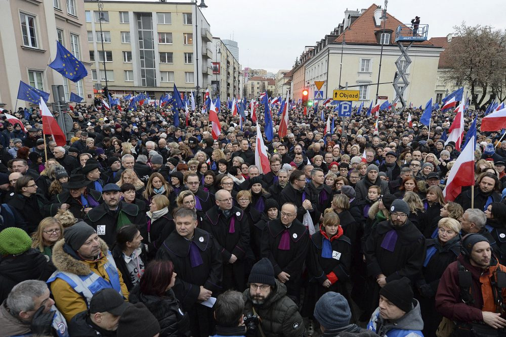 Judges and lawyers from across Europe, many of them dressed in their judicial robes, march silently in Warsaw, Poland, on Saturday. The rally was a show of solidarity with Polish judges, who are protesting a bill that would allow the government to fire judges whose rulings they don't like.