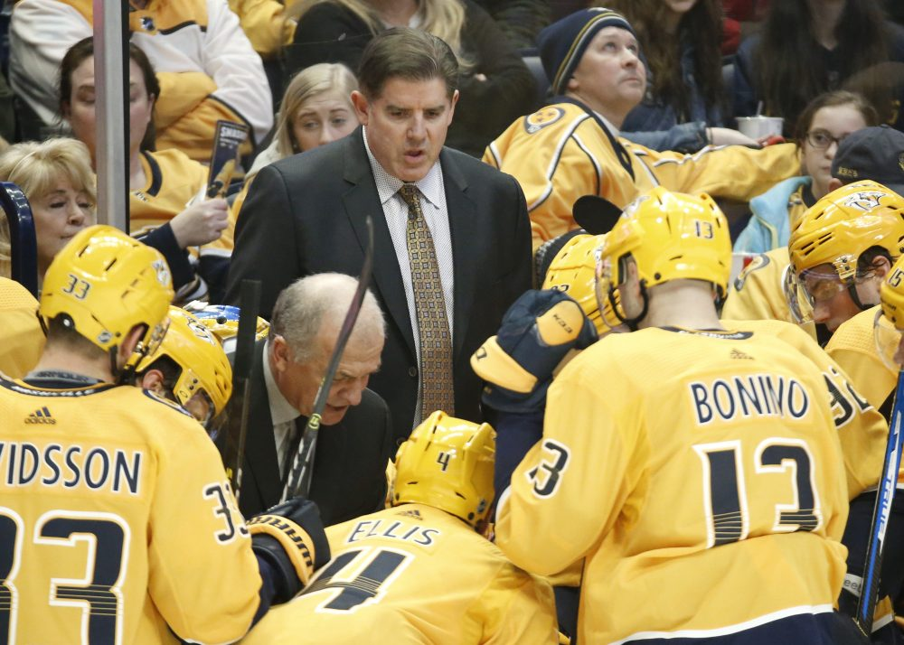 Peter Laviolette, who led the Nashville Predators to the playoffs in each of the previous five seasons, was fired on Monday. Nashville is 19-15-7 this season.