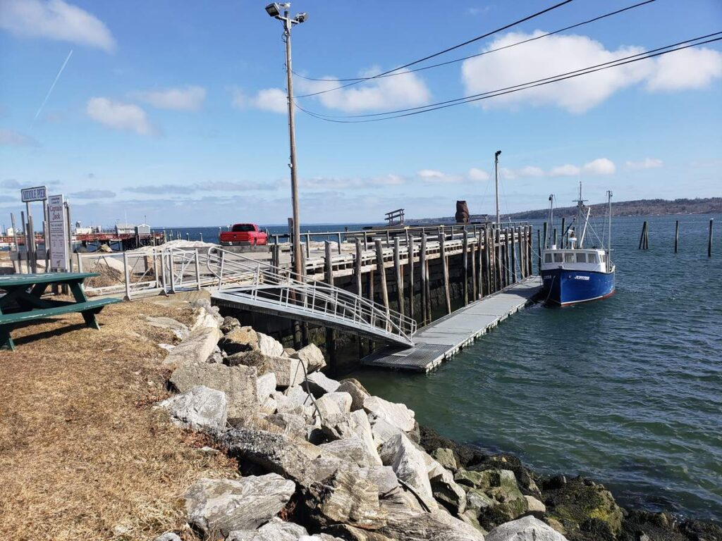 Rockland's middle pier was one of the sites around Penobscot Bay included a study of the expected effects of sea-level rise.