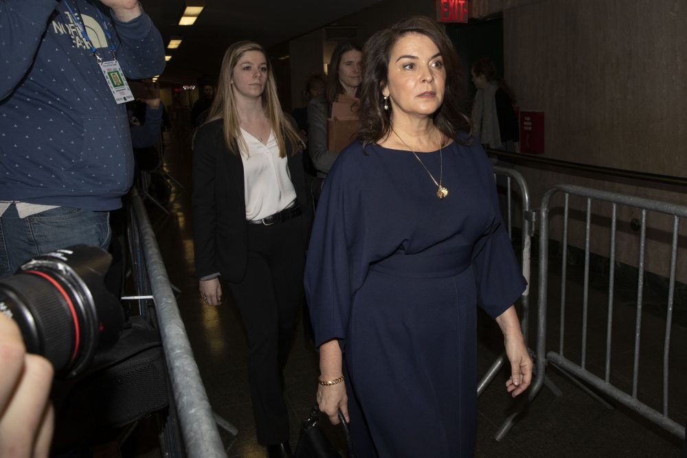 Actress Annabella Sciorra, right, arrives as a witness in Harvey Weinstein's rape trial, in New York, Thursday.