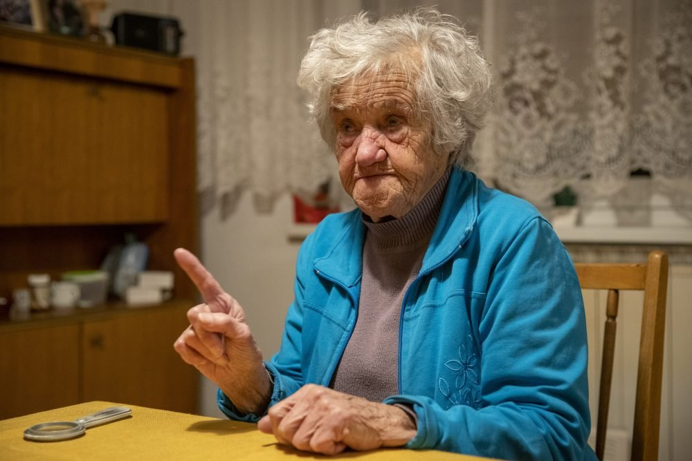 Nazi camps survivor Marija Frlan, who will turn 100 on Monday,  Holocaust Remembrance Day, is interviewed at her home in Rakek, Slovenia on Friday.