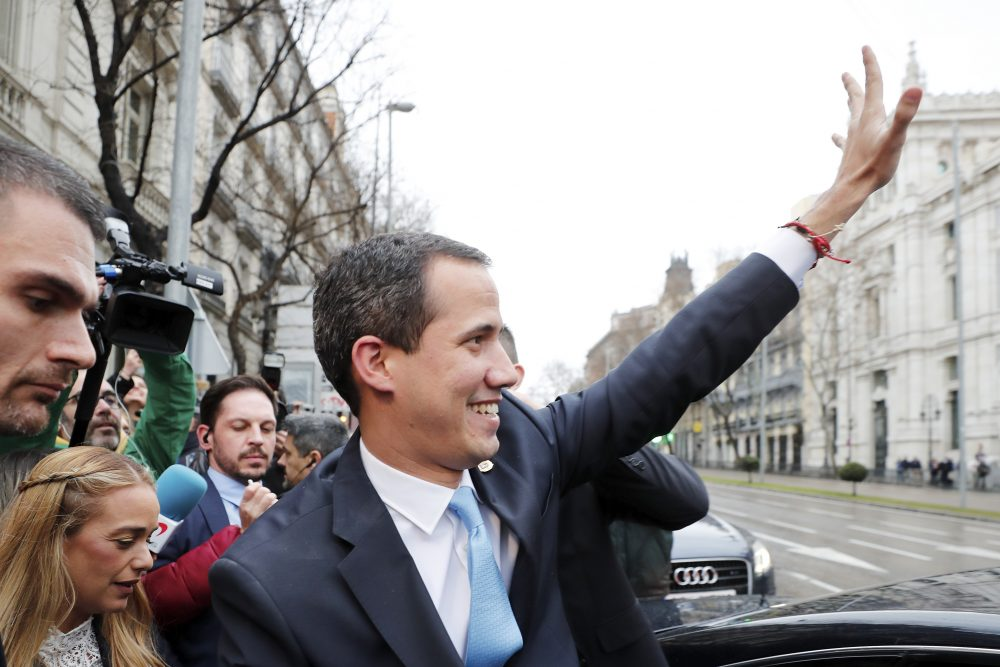 The leader of Venezuela's political opposition Juan Guaidó visits Madrid on Jan. 25. Guaidó defied a travel ban, spiriting out of Venezuela into Colombia. Over the past two weeks, he met with heads of state, including Colombian President Iván Duque, British Prime Minister Boris Johnson and French President Emmanuel Macron.